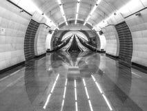 metromoscow station Svart och whie HDR royaltyfri fotografi