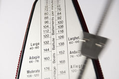Moving metronome. Horizontal shot of moving metronome on white background Stock Photography