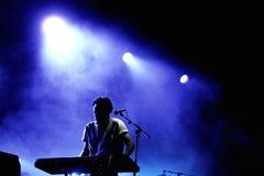 Metronomy带执行在Dia de la Musica Festival。 库存照片