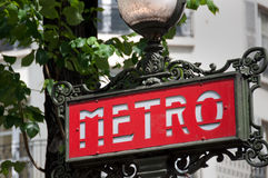 metroparis tecken Royaltyfria Foton