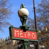 metroparis tecken Fotografering för Bildbyråer