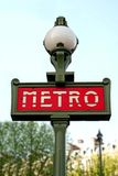 metroparis tecken Arkivfoto