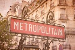 metroparis tecken Royaltyfria Bilder