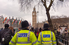 Metroplitan police in Parliament square, London royalty free stock images