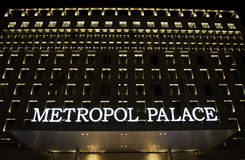 Metropol Palace Hotel. In center of Belgrade city ,Serbia... one of the most prestigious hotels in south east of Europe ... during the night all those Royalty Free Stock Photos