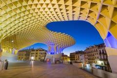 Metropol Parasol in Plaza de la Encarnacion - night view. Seville, Spain - 16 November 2016: Metropol Parasol in Plaza de la Encarnacion. J. Mayer H. architects Stock Photography