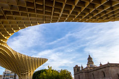 Metropol Parasol. Is a wooden structure located at La Encarnación square, in the old quarter of Seville, Spain. It was designed by the German architect Jürgen Stock Photography