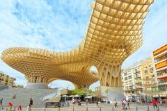 Metropol Parasol is a wooden structure located at La Encarnacion. Seville, Spain - June 08, 2017 : Metropol Parasol is a wooden structure located at La Stock Photography