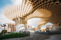 Metropol Parasol is a wooden structure located Plaza de la Encarnacion Stock Photos