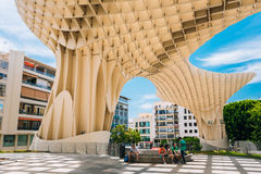Metropol Parasol is a wooden structure located Plaza de la Encarnacion square, in old quarter of Seville, Spain Stock Images