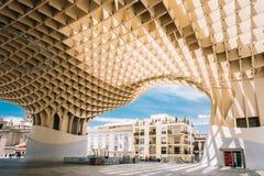 Metropol Parasol is a wooden structure located Plaza de la Encarnacion square Royalty Free Stock Photo