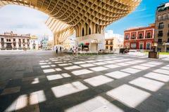 Metropol Parasol is a wooden structure located Plaza de la Encarnacion square Stock Photos