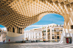 Metropol Parasol is a wooden structure located Stock Photo