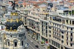 Metropole Gebäude und Gran über, Madrid, Spanien Lizenzfreies Stockfoto