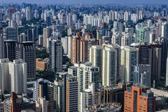 Metropole view from above. Aerial view of Sao Paulo city, Brazil. Metropole view from above. Aerial view of Sao Paulo city, Brazil South America royalty free stock photo