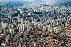 Metropole view from above. Aerial view of Sao Paulo city, Brazil. Metropole view from above. Aerial view of Sao Paulo city, Brazil South America royalty free stock photos