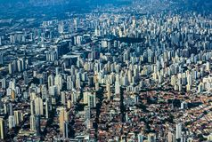 Metropole view from above. Aerial view of Sao Paulo city, Brazil. Metropole view from above. Aerial view of Sao Paulo city, Brazil South America royalty free stock image
