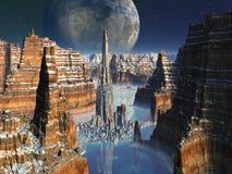 Metropoli futuristica in valle straniera del canyon illustrazione di stock