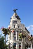 Metropolia budynek. Gran Przez. Madryt. Hiszpania Fotografia Stock