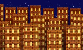 Metropolia czerwoni ceglani domy przy nocą ilustracji
