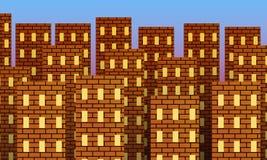Metropolia czerwoni ceglani domy przy wschód słońca royalty ilustracja