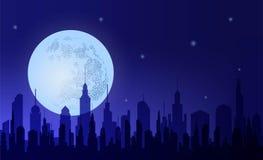 metropolia Sylwetki nocy miasto przeciw t?o ksi??yc i niebu ilustracja wektor