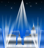 Metropolis. Retro art deco illustration of a city lit up at night Stock Image