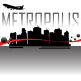 Metropolis. Colorful background with skyscraper silhouettes, black bubbles, flying plane and the word metropolis rising up behind the skyscrapers. Metropolis Stock Photo