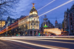 Metropolis. Building, in Madrid, Spain, with lighting effect Stock Photo