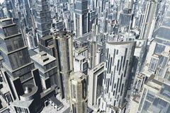 Metropolis 3D render. Futuristic glass skyscraper Stock Image