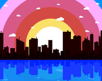 Metropolis on the background of the ocean. Vector art illustration Stock Image