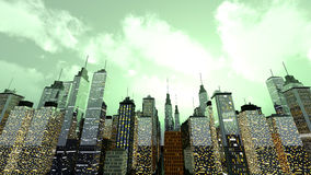 Metropolis. A big generic city under a moody green sky. 3D rendered Illustration Royalty Free Stock Image
