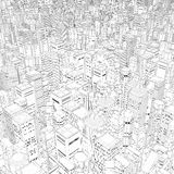Metropolis in black and white. 3D illustration of vast line art cartoon city Royalty Free Stock Image