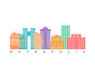 Metropolis building color logo. Skyscrapers emblem for business Stock Image