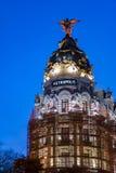 Metropolis building facade in Madrid Stock Image