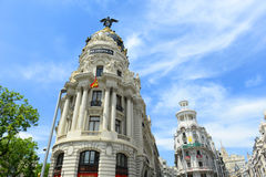 Metropolis Building at Gran Vía, Madrid, Spain Stock Photo