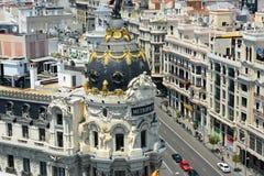 Metropolis Building and Gran Via, Madrid, Spain Stock Image