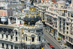 Metropolis Building and Gran Via, Madrid, Spain Stock Image