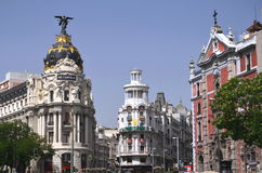 Metropolis building on Gran Via St. in Madrid Royalty Free Stock Photography