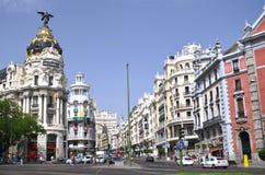 Metropolis building on Gran Via St. in Madrid Royalty Free Stock Images