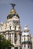 Metropolis building on Gran Via St. in Madrid Royalty Free Stock Photo