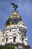 Metropolis building on Gran Via St. in Madrid Stock Photos