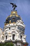 Metropolis building on Gran Via St. in Madrid Stock Photos