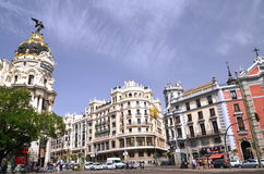 Metropolis building on Gran Via St. in Madrid Stock Image