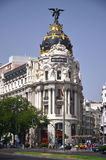Metropolis building on Gran Via St. in Madrid Stock Photography