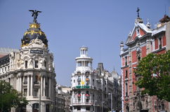 Metropolis building on Gran Via St. in Madrid Royalty Free Stock Images