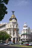 Metropolis building on Gran Via St. in Madrid Royalty Free Stock Image