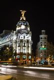 Metropolis building in Gran Via street, in Madrid Stock Photo