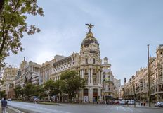 Metropolis building in Gran Via street, in Madrid Stock Photos