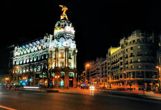 Metropolis Building, Landmark in Madrid. The Metropolis building in Madrid, photographed by night, is one of the most famous landmarks of the Spanish Capital in Stock Photography